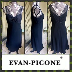 Vintage Evan Picone Formal Black Silk Dress Size 8